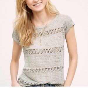 Akemi + Kin Anthropologie 100% Linen Top Crochet